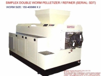 SIMPLEX DOUBLE WORM PELLETIZER/REFINER